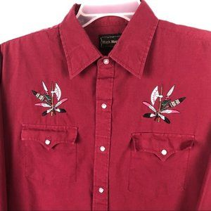 High Noon Western Shirt Vintage Red Snap Mens L